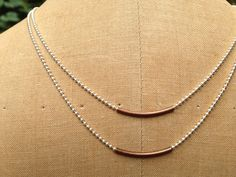 Minimalist 2 Tiered Copper Tube Necklace
