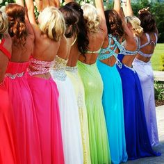 it's like a rainbow of pretty dresses!