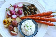 Oven-Roasted Vegetables Recipe with Light Yogurt and Horseradish Dip