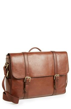 Richly grained leather forms a handsome messenger bag accented with fine goldtone hardware. Brown Leather Messenger Bag, Messenger Bag Men, Men Accesories, Bag Accessories, Best Travel Bags, Men's Backpacks, Diy For Men, Leather Fashion, Women's Fashion