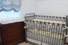 Grey Damask and soft yellow crib bedding