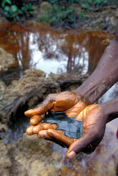Shell Oil spill in the Delta region of Nigeria. The local tribe, the Ijaw, complain of loosing their fishing as a result as well as having their water source poisoned. They also recieve no compensation from Shell's poor pipeline maintenance. COPYRIGHT:© Adrian Arbib