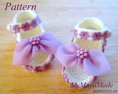 Crochet Pattern  Purple Flowery Crochet Baby Sandals PDF