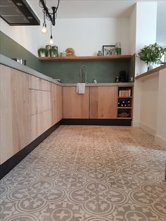 48 The best interior of a wood kitchen - L I V E - # of . 48 The best interior of a woo Layout Design, Küchen Design, Tile Design, Kitchen Flooring, Kitchen Furniture, Kitchen Decor, Green Kitchen, Furniture Stores, Furniture Buyers