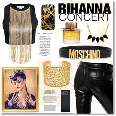 Rihanna concert by maki007 on Polyvore featuring Each X Other, Brooks Brothers, George & Laurel, Moschino, Burberry, Khristian Howell, concert, gold, black and Rihanna