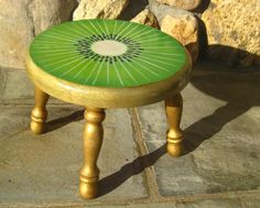 Hand Painted Foot Stool Kiwi Design by JaneSuzanne on Etsy, $120.00