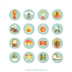 Iconos de acampada y senderismo Vector Gratis
