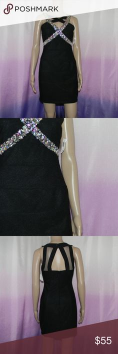 "New Crystal Doll Rhinestone Cocktail Dress Size 3, new with tags, 62% spun polyester 34% polyester 4% spandex, criss cross front detail, button neck, mesh detail back, zipper back, 15"" bust, 12.5"" waist, 16.5"" hips, 31.5"" long -Sorry NO TRADES and NO HOLDS -Ships from California -Comes from smoke free, dog friendly homes -I can't model at this time, the mannequin measurements are 32.5"" bust, 24"" waist, 34"" hips, and is 5'10"" and a size S/M -Items are measured by hand and done laying flat…"