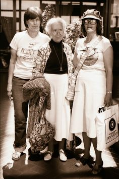 """""""Never doubt that a small group of thoughtful, committed citizens can change the world; indeed, it's the only thing that ever has."""" - Margaret Mead  And here are two more Margarets - Magi with Maggie Kuhn and an activist friend, back in 1980. (Photo credit: San Diego video producer Patty Mooney of Crystal Pyramid Productions)"""