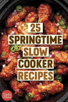 25 Springtime Slow Cooker Recipes Whether spring is just around the corner or fully upon us, arm yourself with these super tasty and refreshing spring recipes, from Asian rolls to chicken gyros. Big Meals, Easy Meals, Crockpot Recipes, Cooking Recipes, Diabetic Slow Cooker Recipes, Diabetic Meals, Cooking Ideas, Healthy Cooking, Healthy Recipes