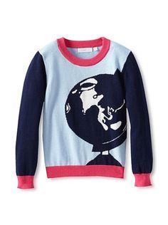70% OFF SHAE Girl's Globe Longsleeve Sweater (Lightblue/Navy)