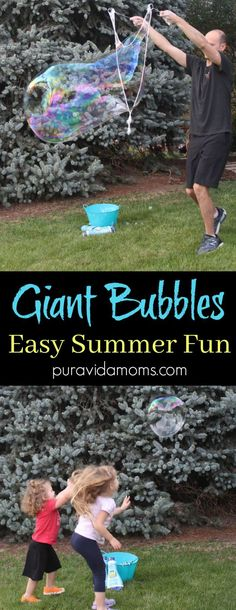 These homemade giant bubbles are the perfect activity for kids of all ages to learn and discover how gravity works. A fun and easy summer craft! Summer Preschool Activities, Outside Activities, Outdoor Activities For Kids, Rainy Day Activities, Infant Activities, Family Activities, Bonding Activities, Spanish Activities, Children Activities