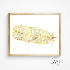 Gold print, gold feather print, large gold feather on white background.  Please read the entire description before purchase…  Printable wall art