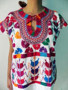 Mexican Top Blouse Fantastic Amazing Colorful Embroidered Handmade Medium / Large. $46.00, via Etsy.