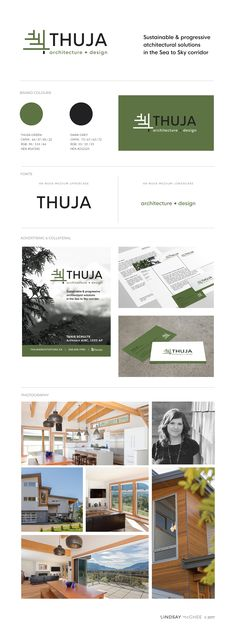 "The client's old brand was very natural and reflected ""Thuja"" latin for cedar, quite literally. In the re-brand she wanted to capture the organic and natural aspects that her company name suggested but respect the clean, minimalism and structure of architecture."