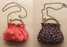 Aprende a elaborar este bolso reversible con asas metálicas que podrás combinar fácilmente. Diy Clutch, Diy Purse, Lace Bag, Frame Purse, Pouch Pattern, Simple Bags, Fabric Bags, Cloth Bags, Handmade Bags