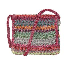 Dynamic Asia Womens Striped Crochet Flap Front Crossbody Handbag
