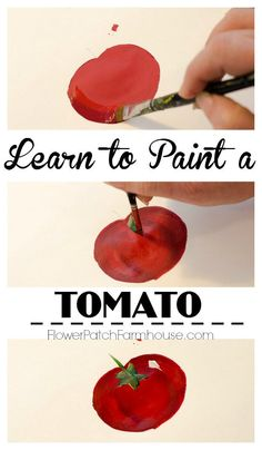 Learn how to paint a tomato one stroke at a time. Great for crafts, DIY garden signs or anything you wish to paint! Painting Activities, Painting Lessons, Painting Tips, Art Lessons, Painting Tutorials, Craft Tutorials, One Stroke Painting, Tole Painting, Painting & Drawing