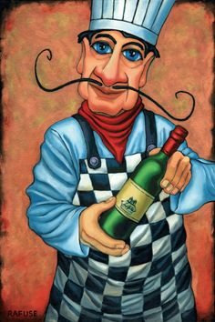 Benecio the Chef by Will Rafuse, presenting wine. I love the style of this one. Blue eyes, checkered apron