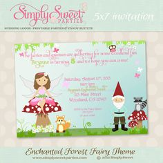 enchanted forest fairy birthday party invite printable pdf files