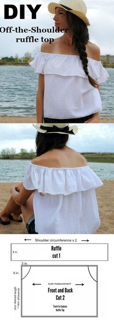 Create this off-the-shoulder ruffle top I designed for summer! You can make the hem longer for a dress or add trim for extra...