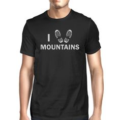 I Heart Mountains Mens Black Short Sleeve T-Shirt For Hiking Lovers