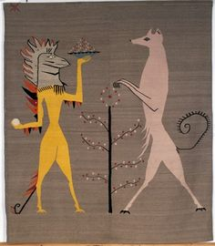 ´Iguana and Dog´, 3 of 6 tapestries for Edward James, 1948 – 1958 Tapiz de Leonora Carrington (1917-2011), una artista que los 19 años se convirtió en una figura central del movimiento surrealista, con pinturas de criaturas entre animales y humanas que habitaban sueños y pesadillas.