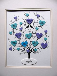 8x10 Family Tree of Hearts. Parents Grandparents.