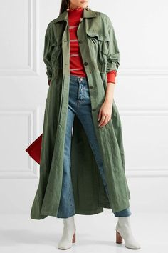 Topshop Unique - Redford Oversized Cotton Canvas-paneled Twill Trench Coat - Army green - medium