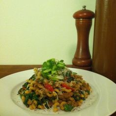 Bolognese with Sautéd Spinach and Fresh Grape Tomato.