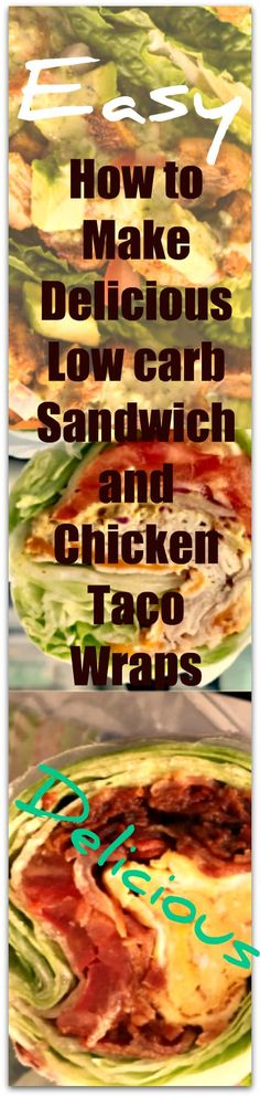 Easy Delicious Low Carb Lettuce Wraps: Sandwich & Chicken Taco – Weight Loss Plans: Keto No Carb Low Carb Gluten-free Weightloss Desserts Snacks Smoothies Breakfast Dinner… Easy Healthy Recipes, Lunch Recipes, Salad Recipes, Dinner Recipes, Healthy Wraps, Diabetic Recipes, Free Recipes, Keto Recipes, Coleslaw