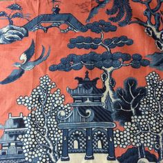 FABOLOUS LEE JOFA CHINOISERIE WILLOW PATTERN 100% LINEN FABRIC PAGODA BIRD  #LeeJOFA