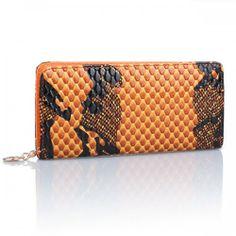 Fashion PU Snakeskin Stripe Single Zipper Wallet Women's Purse