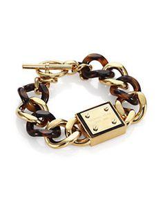 Michael Kors - Tortoise-Print Plaque Toggle Chain Bracelet
