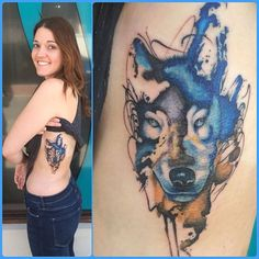 Louise's Amazing Wolf tattoo on her ribs by Paul ???