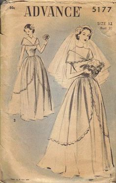 Vintage 1930s Wedding Gown Advance Sewing Pattern Bride Dress Shawl Collar Draped Skirt Overlay Fitted Bodice Bust 30.