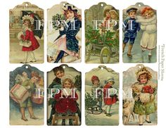 Vintage, Christmas Gift Tags - Victorian Children - Printable Digital Collage Sheet - Shabby Chic - Set of 8 Tags - pinned by pin4etsy.com
