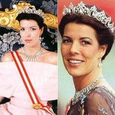 Princess Caroline of Monaco wearing the Cartier Pearl Drop Tiara originally made for her grandmother, Princess Charlotte of Monaco