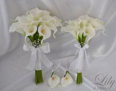 Bride/MoH Bouquets Groom/Best man Boutonnieres Wedding Bridal Bouquet Real Touch Calla Lily White -