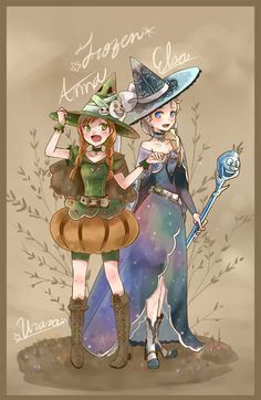 Anna and Elsa going out trick or treating for the first time