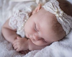 Baby Girls Cream Mohair Flower with Rhinestone Headband fits Newborn 0-12 mos