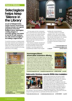 Selectaglaze helps keep 'Silence in the Library' - PSBJ June 2014 Silence In The Library, Building Extension, Window Treatments, June, Windows, Ramen, Window