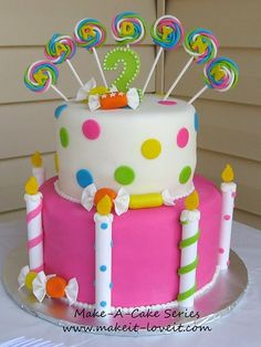 Totally cute birthday cake--could put small candles into the fondant candles around the sides of the cakes--could work!!