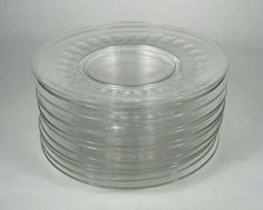 Set 12 Clear Glass Dessert Salad Plates Cut Bottom Size 8 Inch Footed Serving #Unbranded