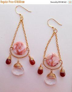 ON SALE Alluring gemstone chandelier earrings statement