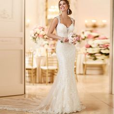 2016 Sexy Mermaid Wedding Dresses Organza V Neck Wedding Bride Gown Robe De Mariage Cap Sleeve Vintage Vestido De Noiva