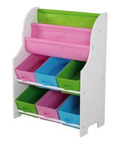 home basics White Six-Bin Storage Shelf & Book Holder   zulily
