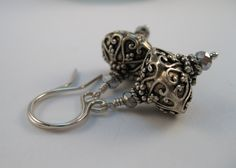 Bali oxidized sterling silver floral heart scroll design lantern shape faceted Hematite color crystals Everyday sterling silver earrings - pinned by pin4etsy.com