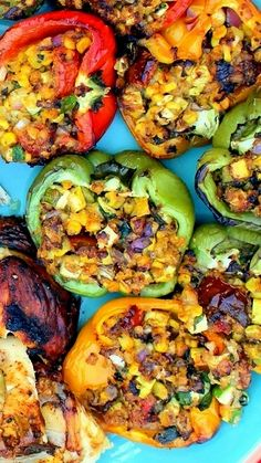 Grilled Vegetable Stuffed Bell Peppers The stuffing is butter soaked vegetables... corn, zucchini, tomatoes and onions all held together with cheese and bread crumbs and herbs... Use vegan butter and omit the cheese or use Daiya