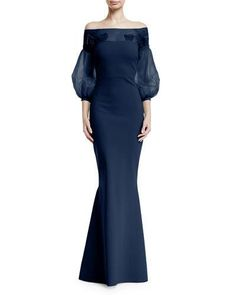Moyer Illusion Balloon-Sleeve Gown by Chiara Boni La Petite Robe at Neiman Marcus. Mother Of The Bride Gown, Mother Of Groom Dresses, Bride Dresses, Evening Gowns With Sleeves, Evening Dresses, Neiman Marcus, Long Sleeve Mermaid Dress, Shrug For Dresses, Casual Skirt Outfits
